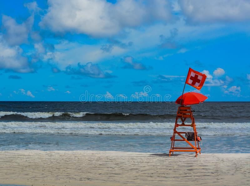 Life guard station, at Jacksonville Beach Florida on the Atlantic Ocean royalty free stock images