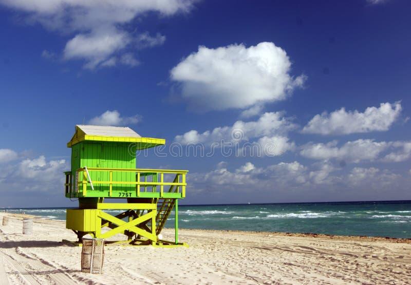 Life Guard Tower off Miami Beach stock image