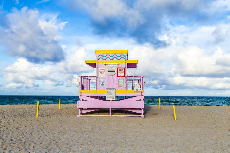 Life guard tower on South Beach in sunset royalty free stock images
