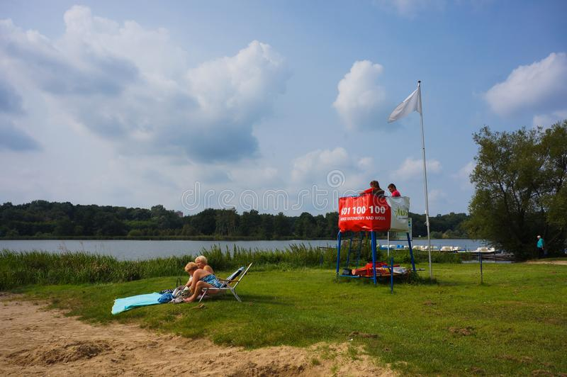 Life guard by a lake royalty free stock photo