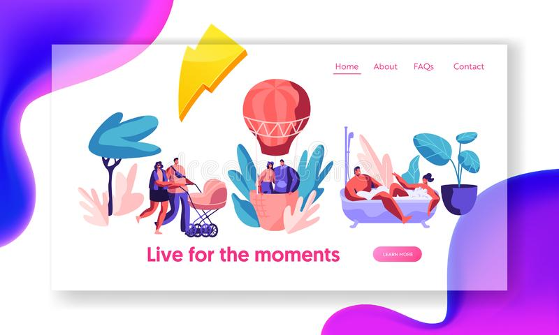 Life for Happy Moment Landing Page. Man and Woman Take Bath with Bubble. Love Couple Fly Air Balloon in Sky. Walk Family with Baby vector illustration