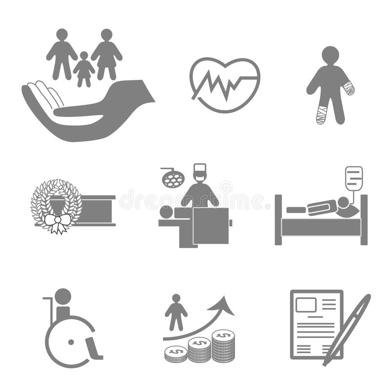 Life and healthy insurance icons collection. Life and healthy insurance flat icons collection in orange and grey colors vector illustration