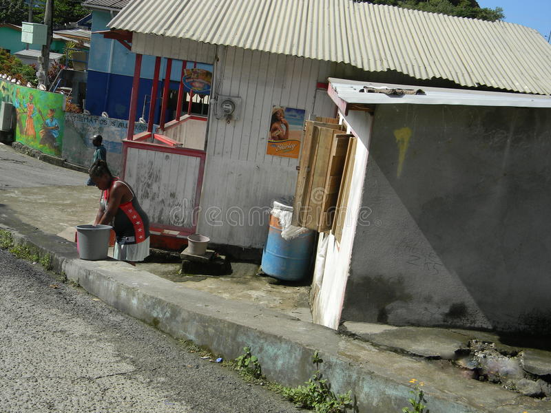 Life after Hurricane Tomas. The village of Canaries has remained without pipe borne water ever since hurricane Tomas struck Saint Lucia in October 2010. Three royalty free stock photography