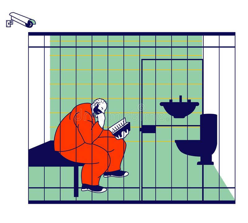 Free Life In Jailhouse. Arrested Convict Man Sitting In Cell With Sink And Toilet Behind Of Metal Bars Reading Book Royalty Free Stock Images - 172081069