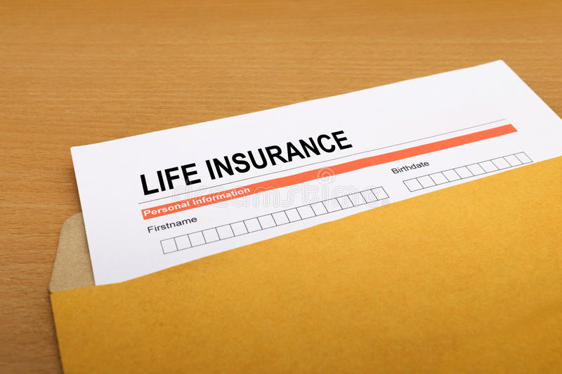 Life Insurance. Application form on brown envelope royalty free stock photos