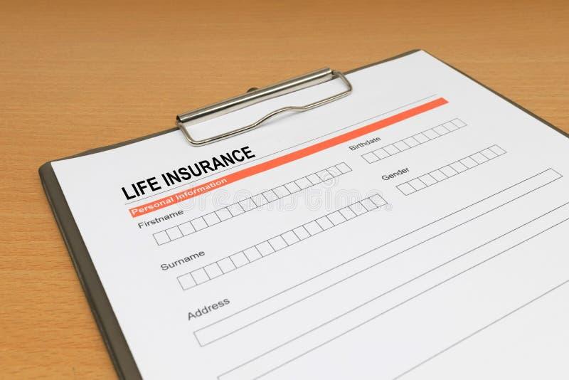 Life Insurance application form. Closeup stock photo