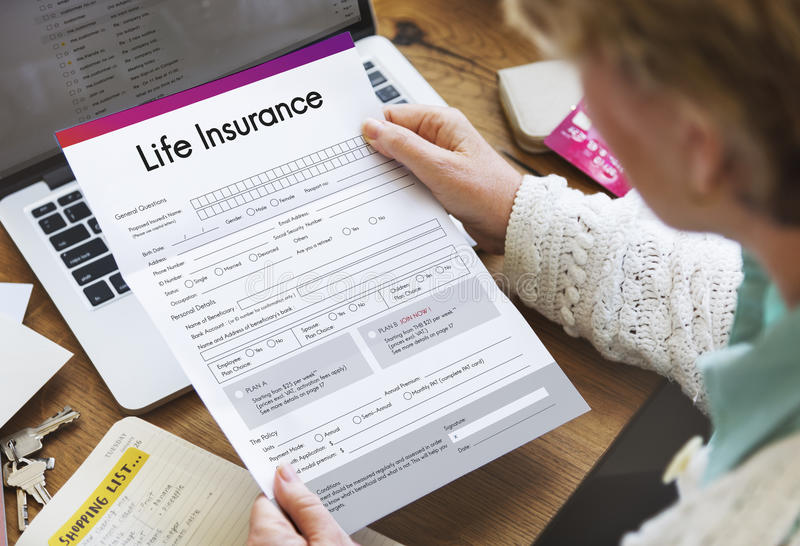 Life Insurance Form Application Security Concept stock images