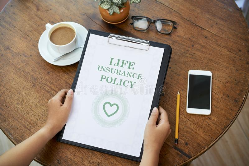 Life insurance policy contract royalty free stock photos