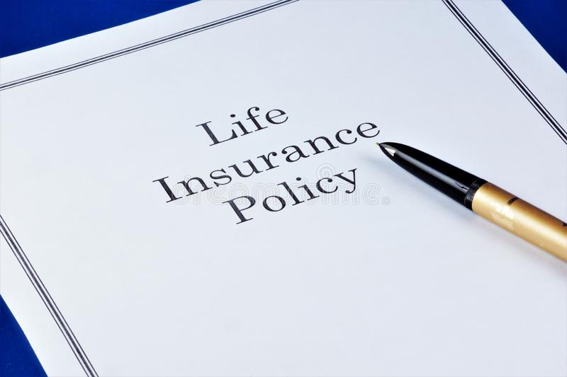 Life insurance policy, provides financial well-being of the family in various life situations. Insurance policy personal document royalty free stock image