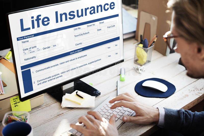 Life Insurance Policy Terms of Use Concept. Businessman Life Insurance Application Concept stock photography