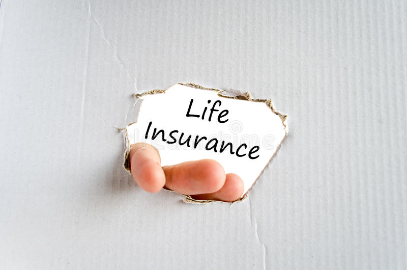 Life insurance text concept. Isolated over white background stock photography