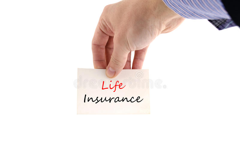 Life insurance text concept. Isolated over white background royalty free stock photos