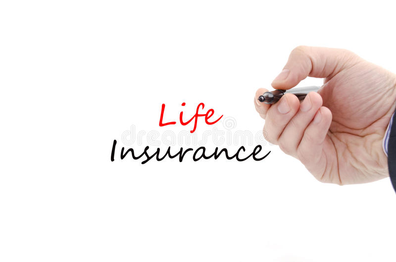 Life insurance text concept. Isolated over white background royalty free stock photo