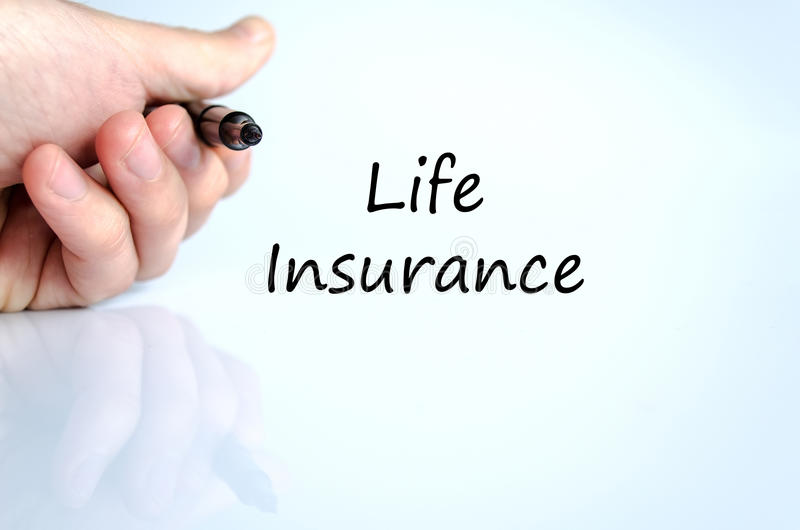 Life insurance text concept. Over white background stock image