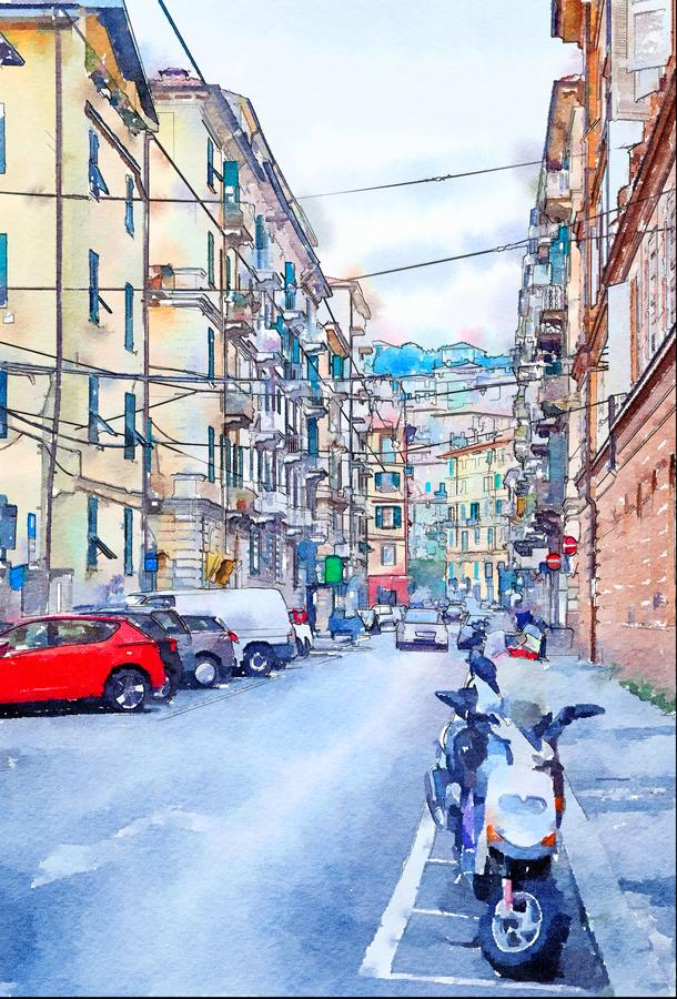 Watercolor style, city life royalty free illustration