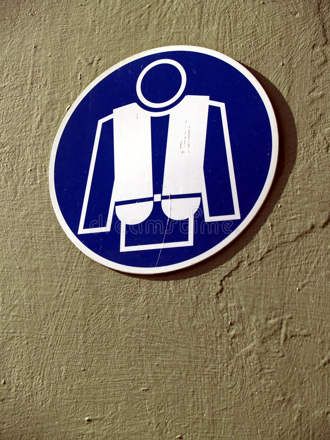 Life jachet. Sign onboard a ship stock images