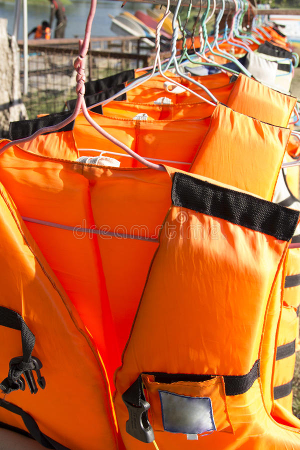 Life jacket. On clothes line stock photo