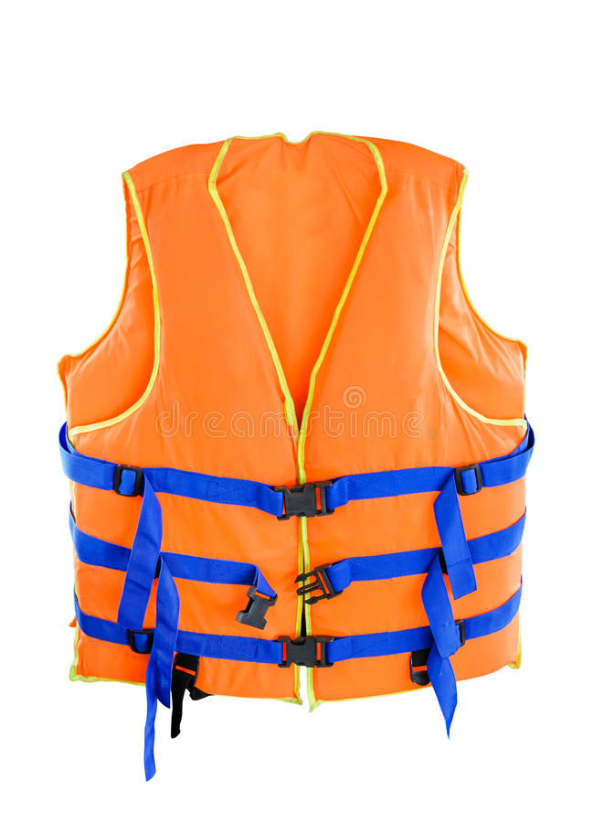 Life jacket. Orange Life jacket with isolated white background stock photo