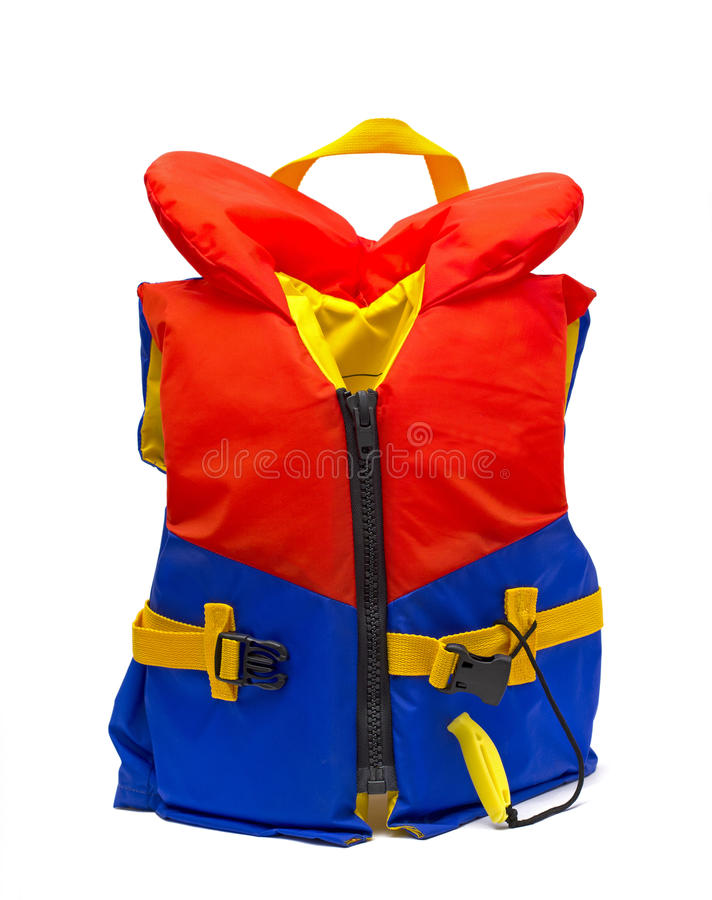 Life jacket. Red and blue life jacket over white royalty free stock images