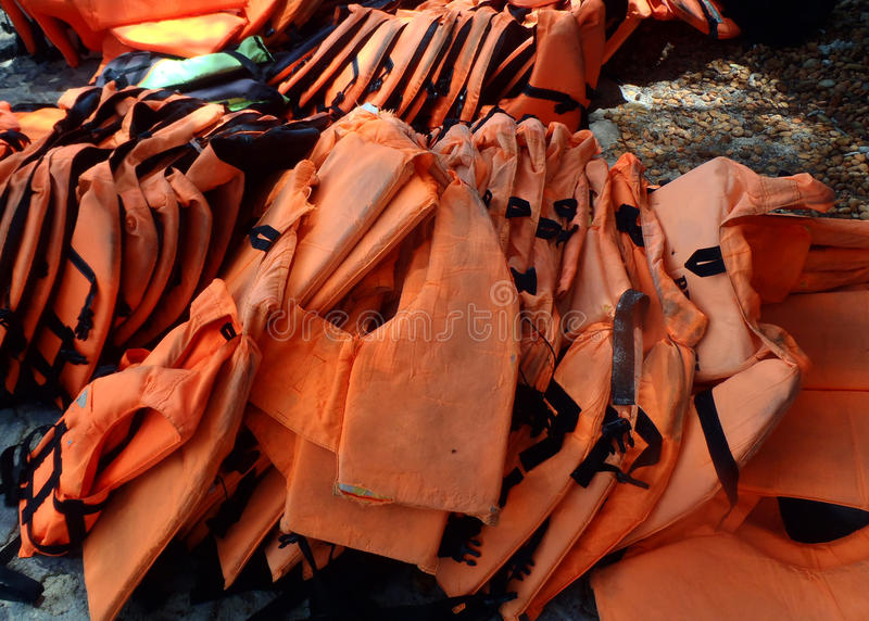 Life jackets pile. Group of Life jackets pile royalty free stock photo