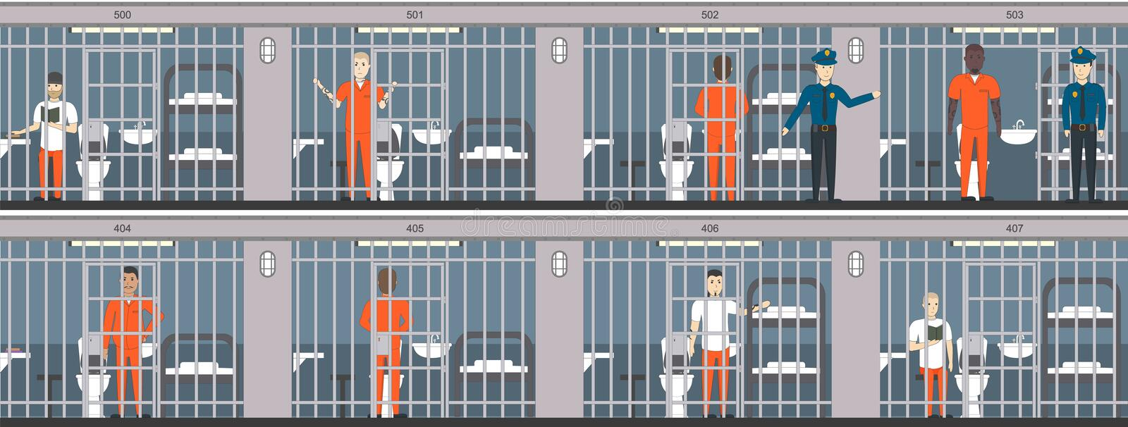 Jail interior set  stock vector  Illustration of adult