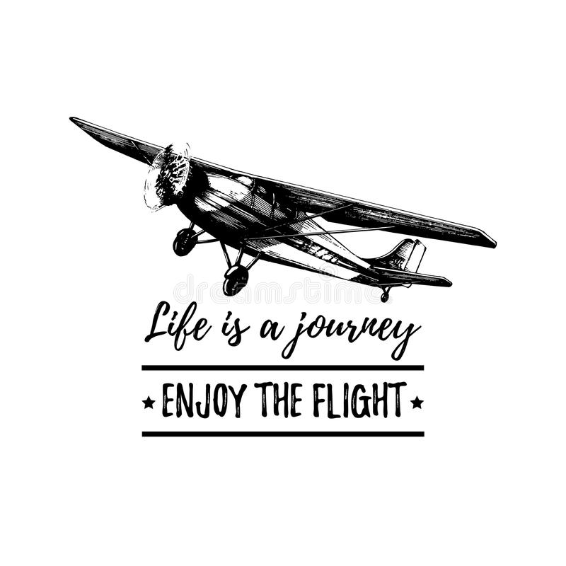 Download life is a journey enjoy the flight motivational quote retro airplane poster