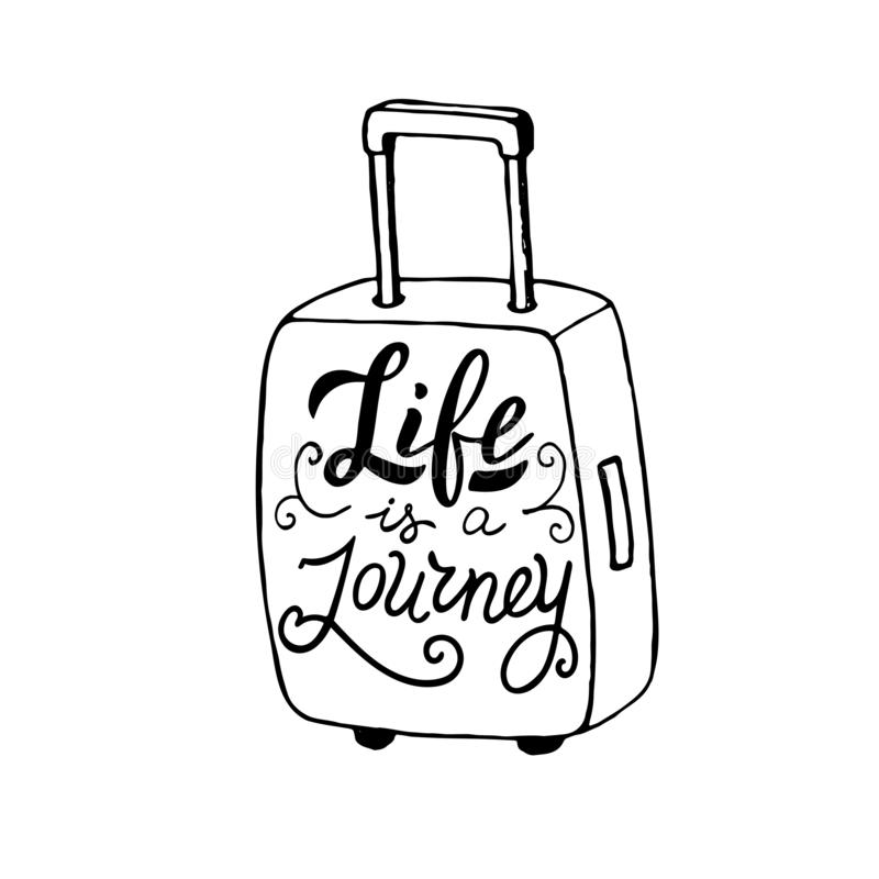 Life is a journey quote in a suitcase. Trendy lettering poster template. Postcard design, t-shirt print. stock illustration