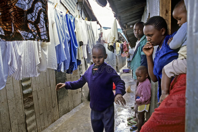 Daily life of Kenyan blind child in slum, Nairobi royalty free stock photography
