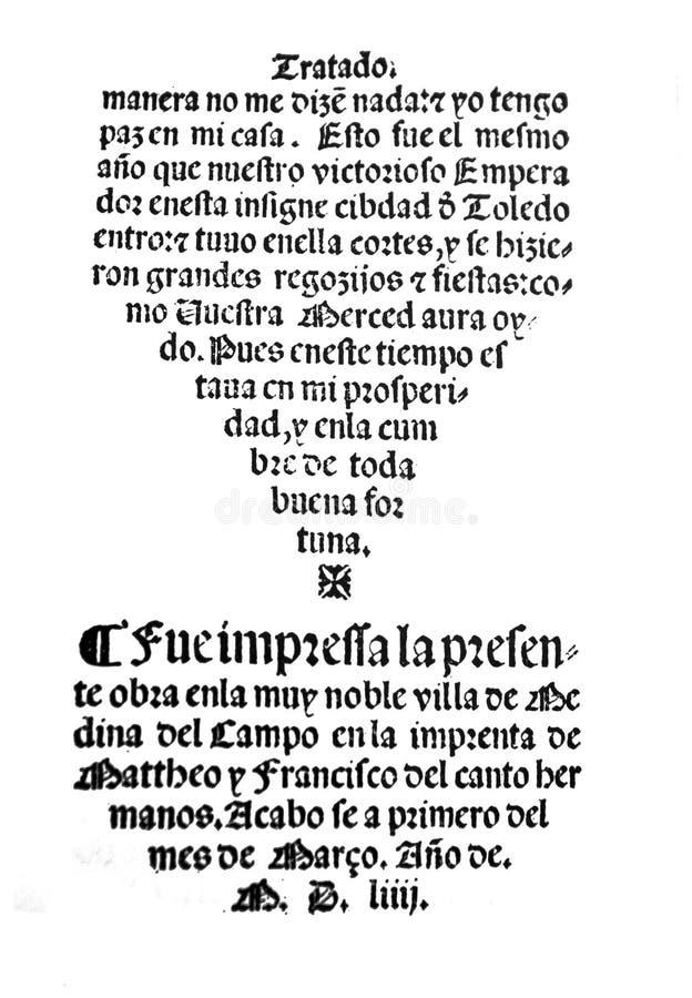 Life of Lazarillo de Tormes novel. Badajoz, Spain - Jul 10th, 2019: Title page from 16th century spanish novel Life of Lazarillo de Tormes. Facsimile ed. from stock photos