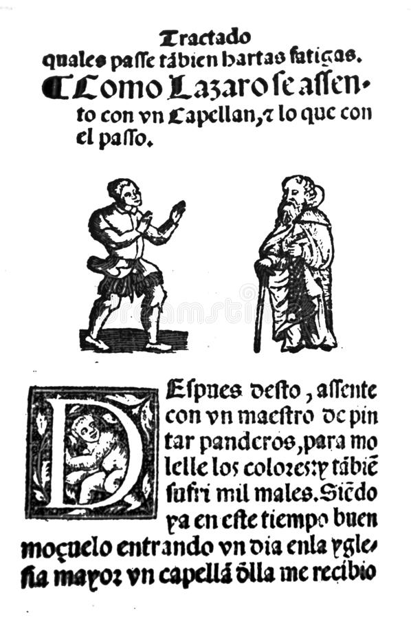 Life of Lazarillo de Tormes novel. C6 Serving a chaplain. Badajoz, Spain - Jul 10th, 2019: Title page from 16th century spanish novel Life of Lazarillo de Tormes royalty free stock photos