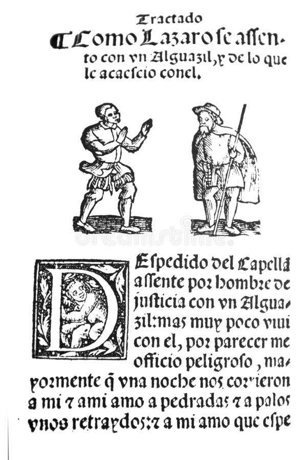 Life of Lazarillo de Tormes novel. C7, serving a pardoner. Badajoz, Spain - Jul 10th, 2019: Title page from 16th century spanish novel Life of Lazarillo de royalty free stock photo