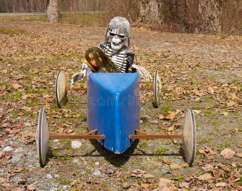 A spooky halloween decoration in a remote part of alaska royalty free stock image