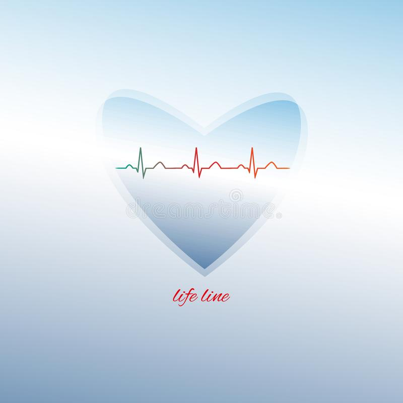 Life line inside a heart shape. stock illustration