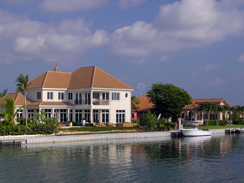 Life of Luxury on Grand Cayman. Beautiful waterfront homes in Grand Cayman stock photo