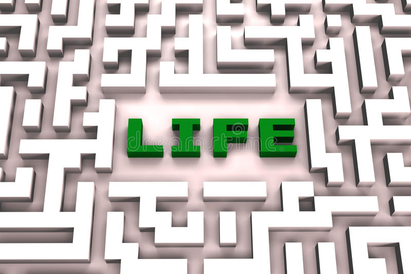 Life in a maze - 3D image stock illustration