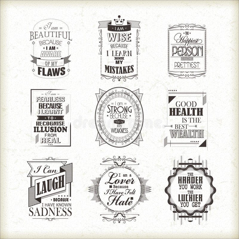 Life motivational and inspirational quotes set. Isolated on beige background vector illustration