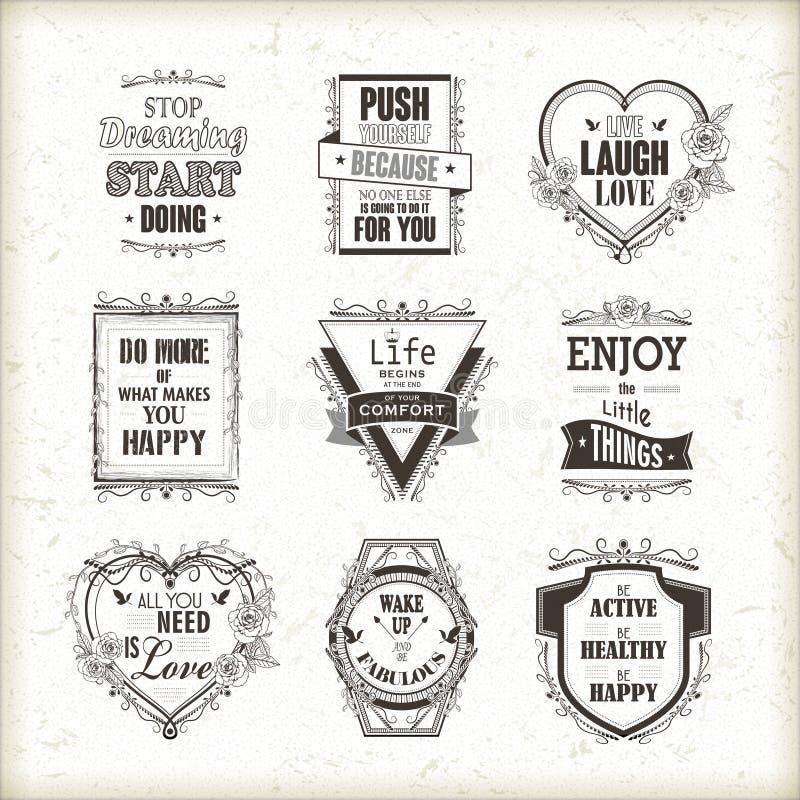 Life motivational and inspirational quotes set. Isolated on beige background royalty free illustration
