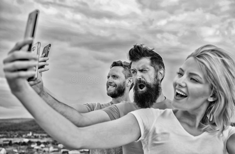 Life online. People taking selfie or streaming online video. Mobile internet and social networks. Mobile dependency stock photography