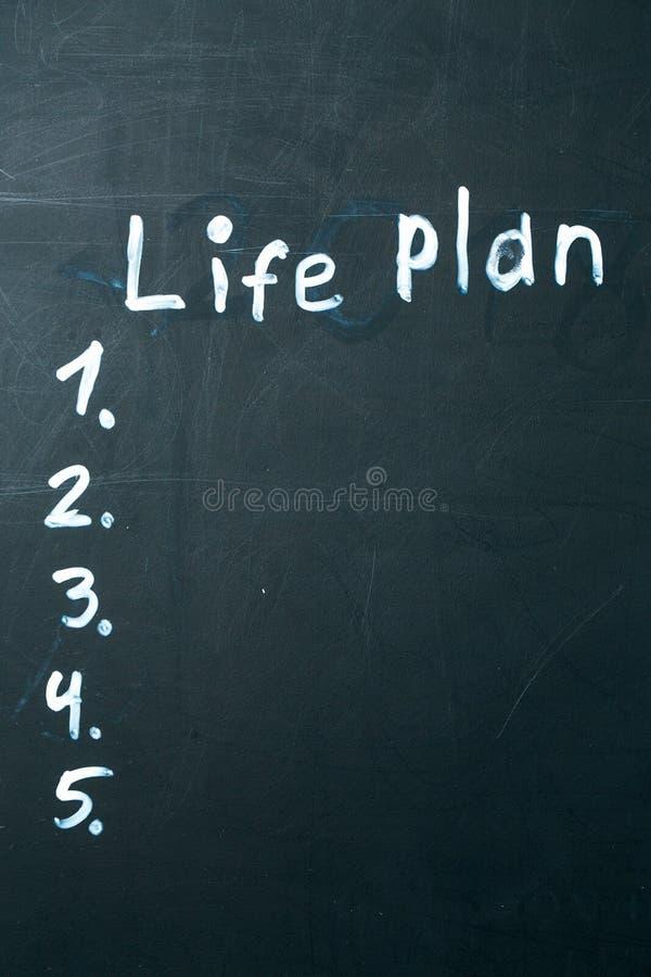 LIFE PLAN phrase written in chalk on the blackboard. stock photo