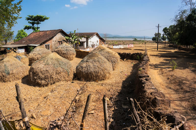 The life of the poor people in villages in India. Traditional Shelters in Rural Areas of India stock image