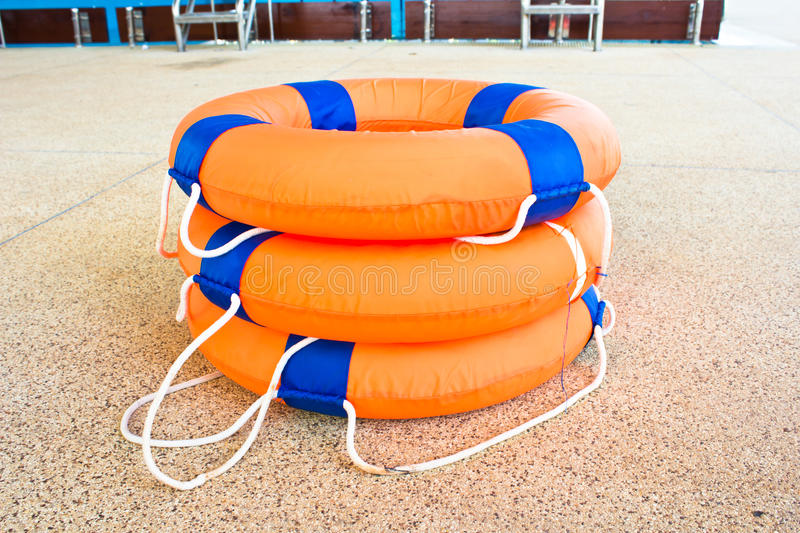 Life preserver floating royalty free stock photography