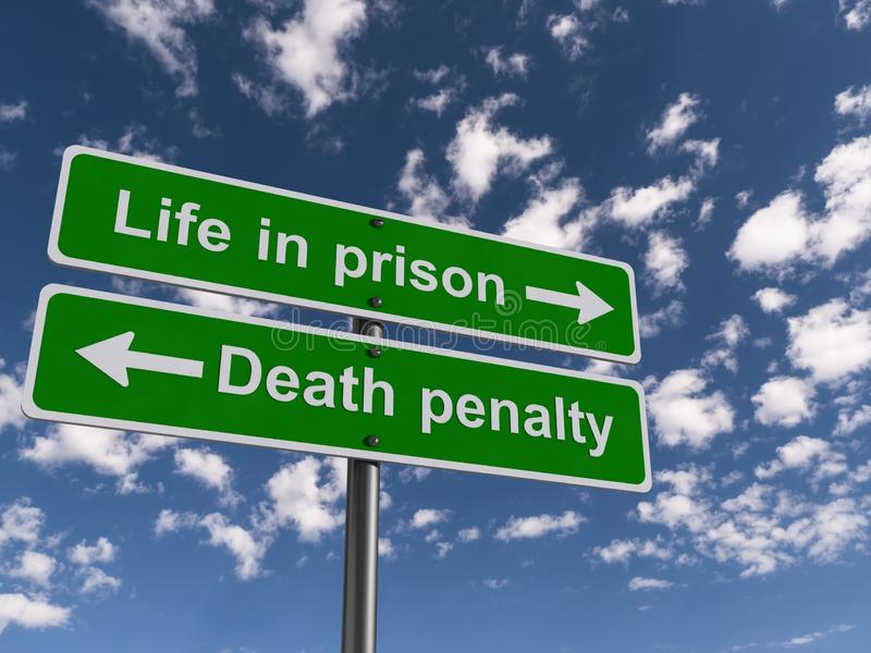 Life in prison and death penalty guideposts. Green life in prison and death penalty guideposts showing in opposite directions and the sky in the background royalty free stock images