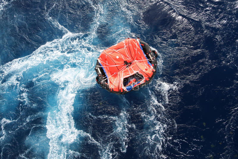 Life Raft. Adrift in a rough sea stock images