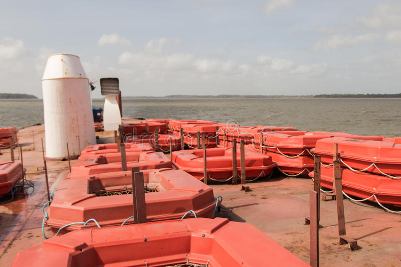 Life Rafts. On the deck of ferry boat between Belem and Marajo island, in the mouth of the Amazon river, Brazil stock photography