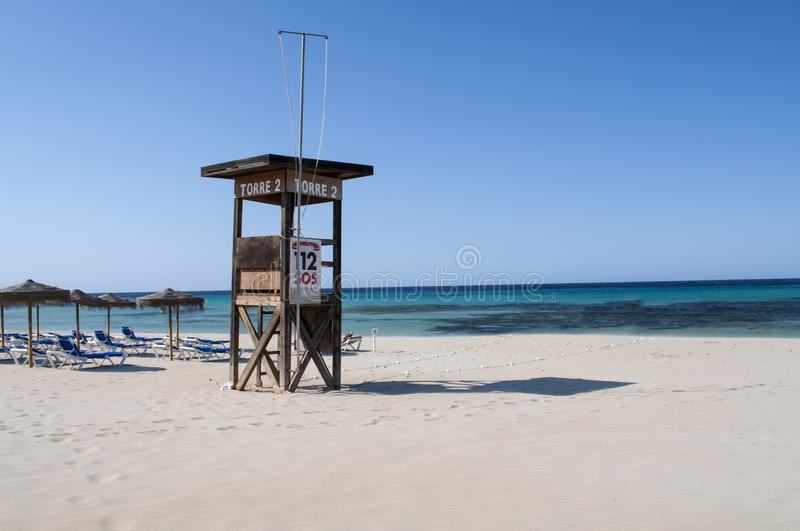 Life saver tower at the beach royalty free stock photography
