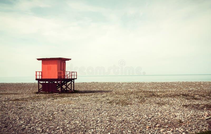 Life savers box in the beach. At evening stock photos