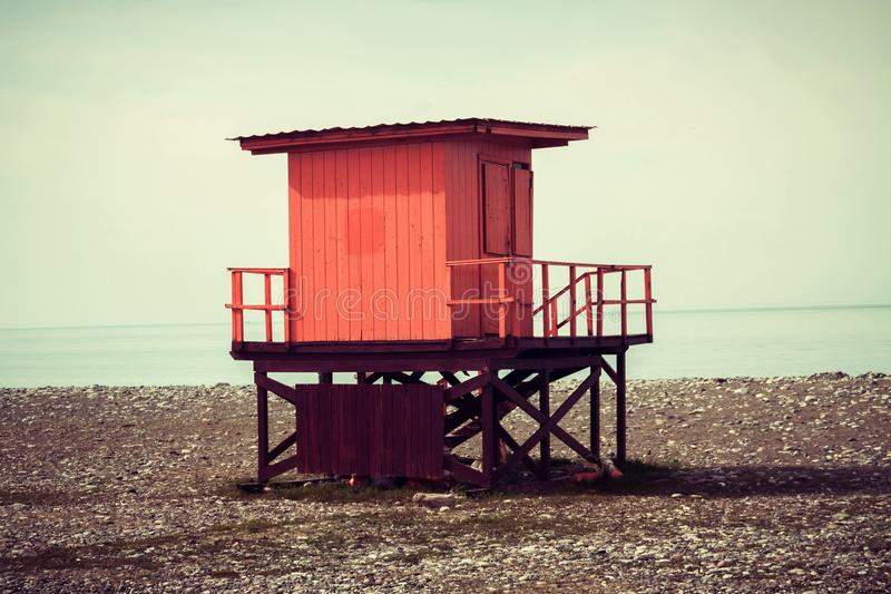 Life savers box in the beach. At evening royalty free stock image