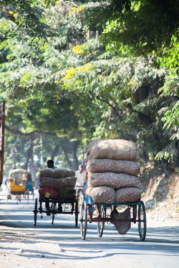 Life in Siliguri. Transport of produce in Siliguri, India royalty free stock image