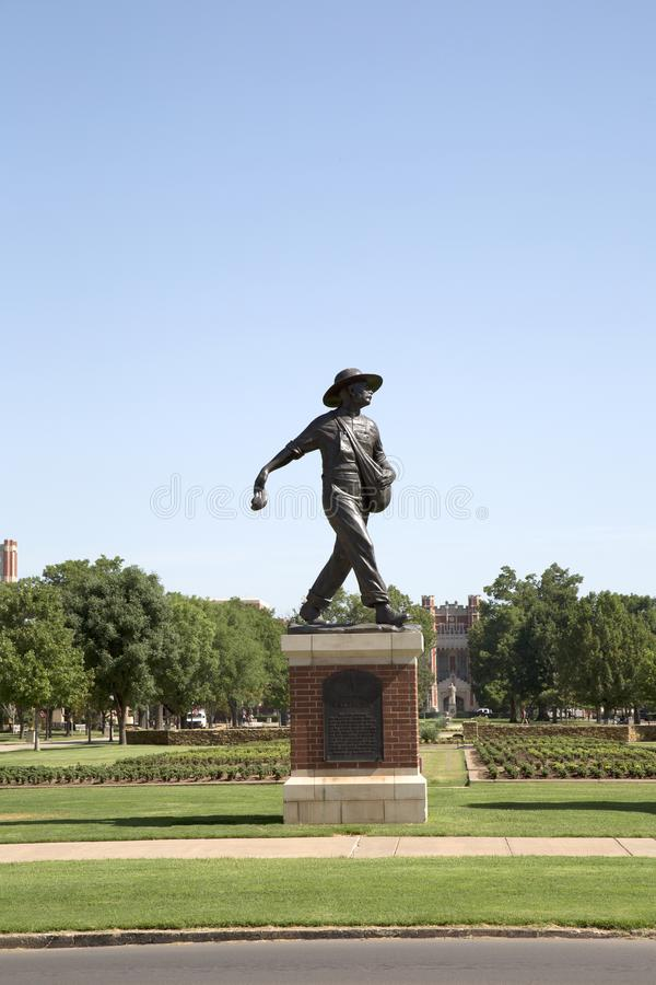 Sculpture of a Sower in University of Oklahoma campus royalty free stock photos