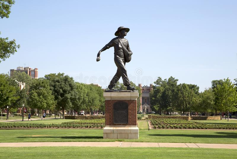 Sculpture of a Sower in University of Oklahoma campus stock photography